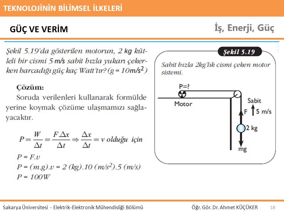TEKNOLOJİNİN BİLİMSEL İLKELERİ İş, Enerji, Güç Öğr. Gör. Dr. Ahmet KÜÇÜKER Sakarya Üniversitesi - Elektrik-Elektronik Mühendisliği Bölümü 18 GÜÇ VE VE