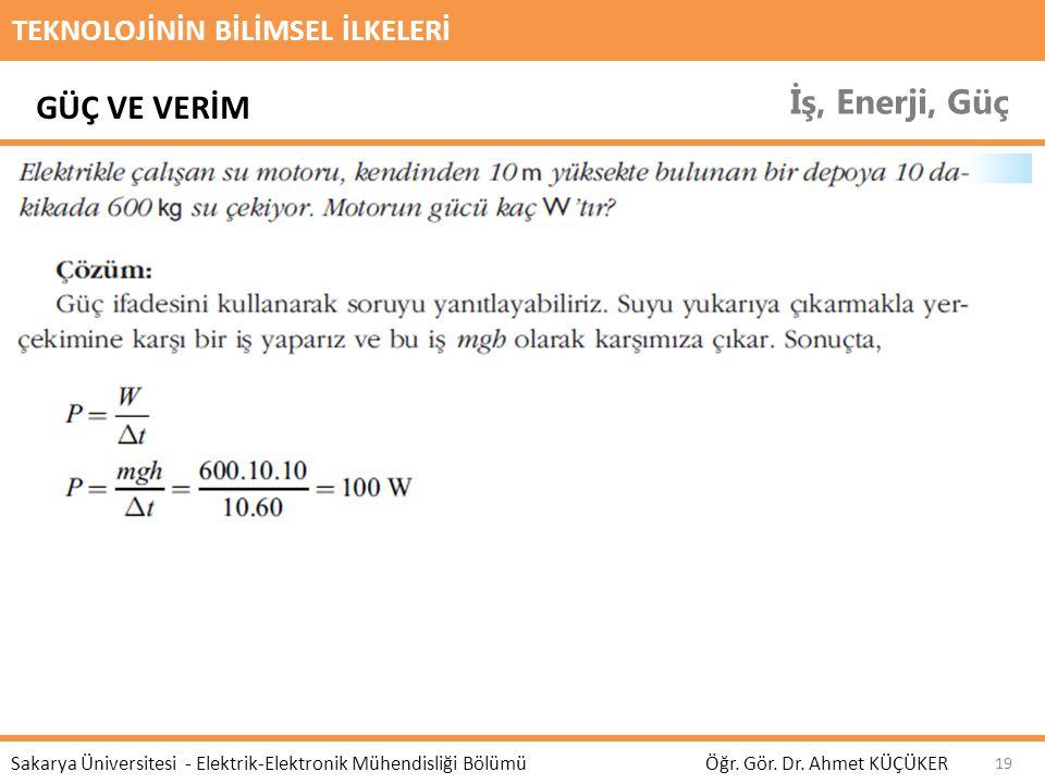 TEKNOLOJİNİN BİLİMSEL İLKELERİ İş, Enerji, Güç Öğr. Gör. Dr. Ahmet KÜÇÜKER Sakarya Üniversitesi - Elektrik-Elektronik Mühendisliği Bölümü 19 GÜÇ VE VE