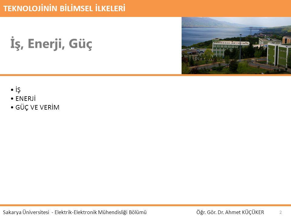 TEKNOLOJİNİN BİLİMSEL İLKELERİ İş, Enerji, Güç Öğr. Gör. Dr. Ahmet KÜÇÜKER Sakarya Üniversitesi - Elektrik-Elektronik Mühendisliği Bölümü İŞ ENERJİ GÜ