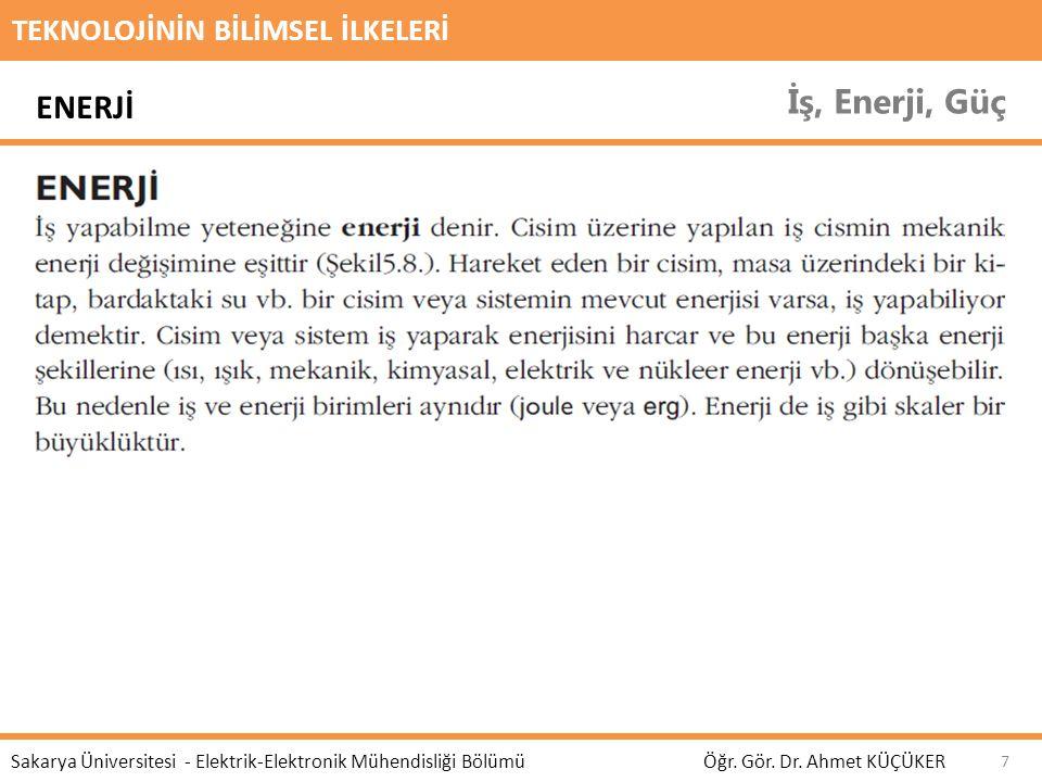 TEKNOLOJİNİN BİLİMSEL İLKELERİ İş, Enerji, Güç Öğr. Gör. Dr. Ahmet KÜÇÜKER Sakarya Üniversitesi - Elektrik-Elektronik Mühendisliği Bölümü 7 ENERJİ