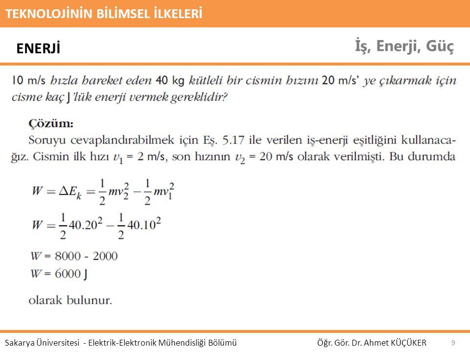 TEKNOLOJİNİN BİLİMSEL İLKELERİ İş, Enerji, Güç Öğr. Gör. Dr. Ahmet KÜÇÜKER Sakarya Üniversitesi - Elektrik-Elektronik Mühendisliği Bölümü 9 ENERJİ