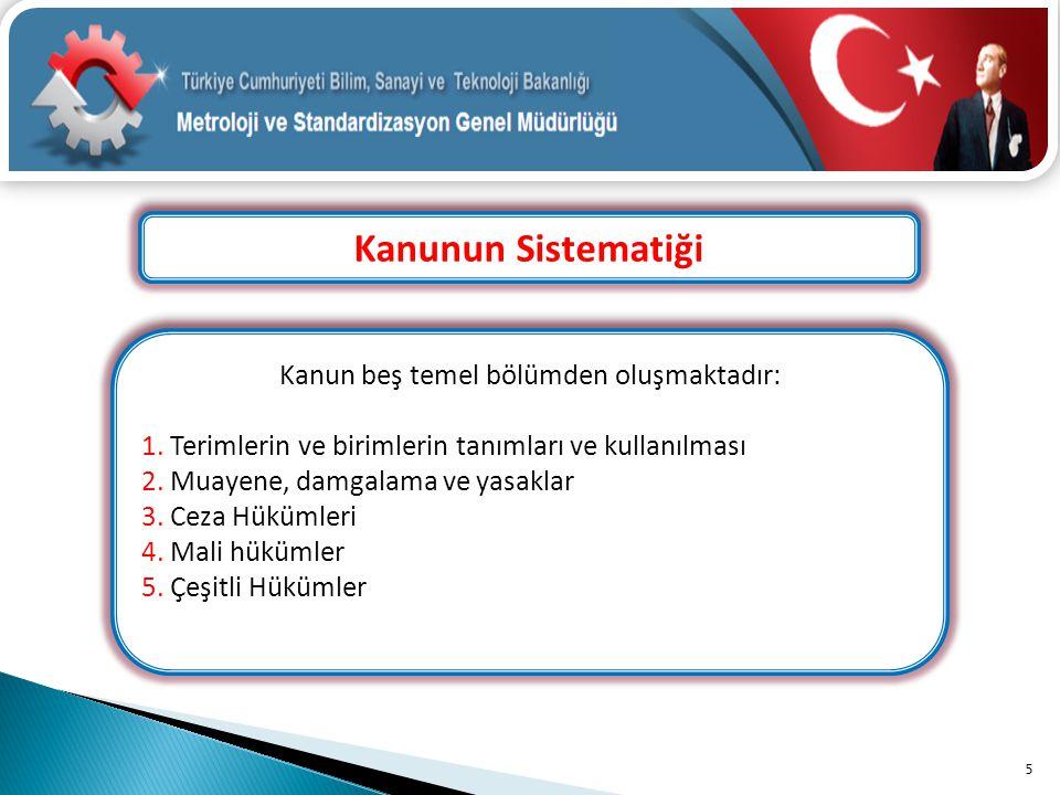 Kanunun Sistematiği 5 Kanun beş temel bölümden oluşmaktadır: 1. Terimlerin ve birimlerin tanımları ve kullanılması 2. Muayene, damgalama ve yasaklar 3