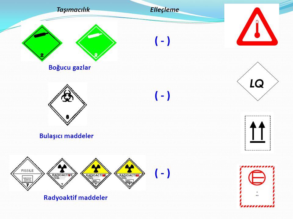 Boğucu gazlar Bulaşıcı maddeler Radyoaktif maddeler TaşımacılıkElleçleme ( - ) LQ