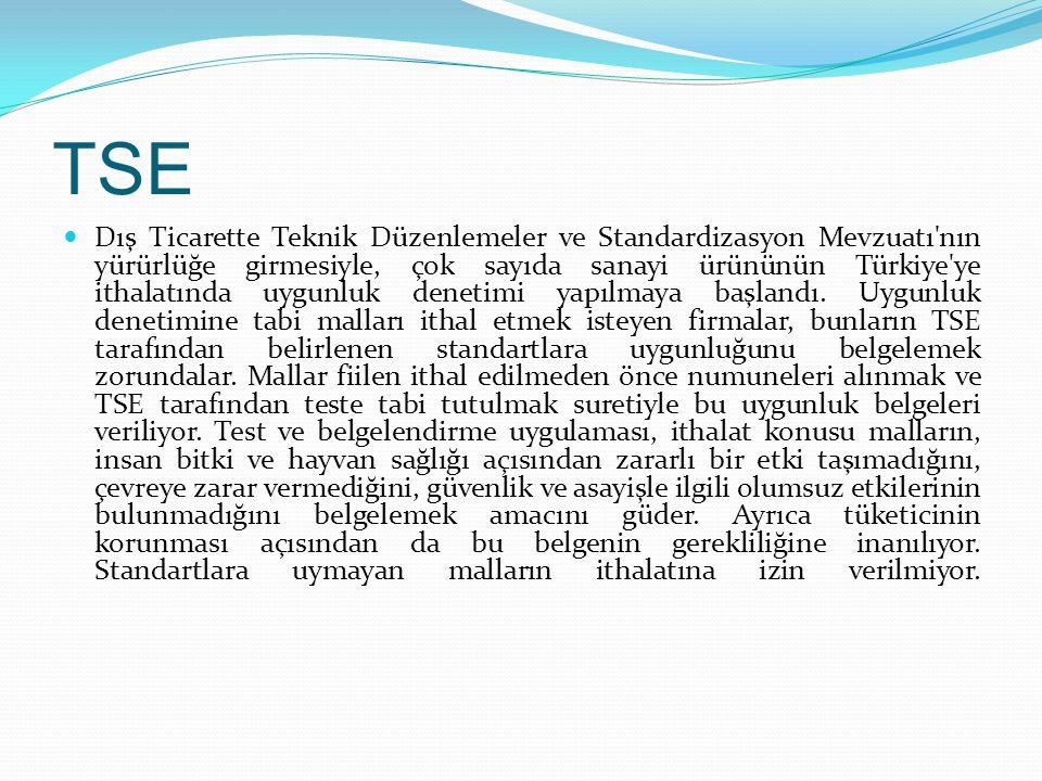 TSE Dış Ticarette Teknik Düzenlemeler ve Standardizasyon Mevzuatı'nın yürürlüğe girmesiyle, çok sayıda sanayi ürününün Türkiye'ye ithalatında uygunluk