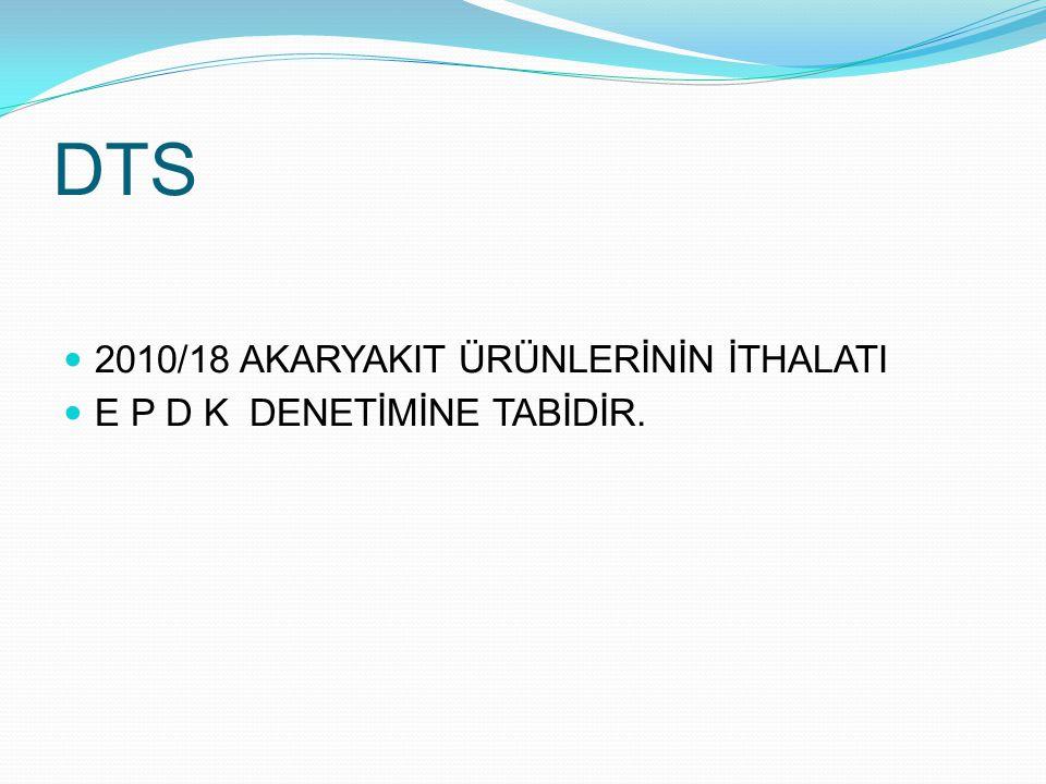 DTS 2010/18 AKARYAKIT ÜRÜNLERİNİN İTHALATI E P D K DENETİMİNE TABİDİR.