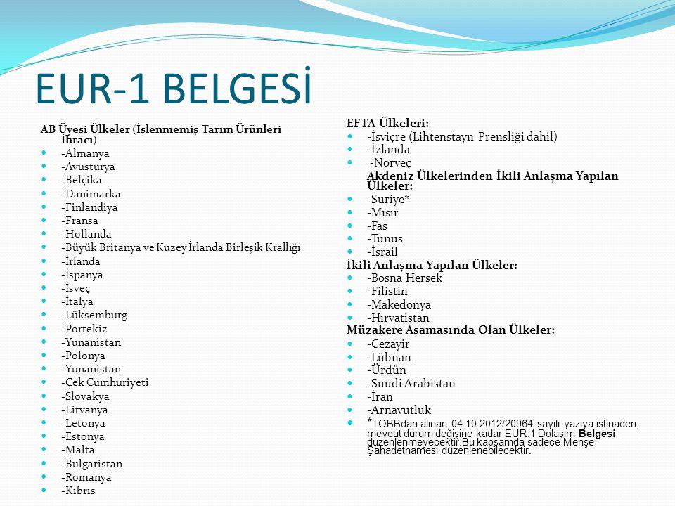 EUR-1 BELGESİ AB Üyesi Ülkeler (İşlenmemiş Tarım Ürünleri İhracı) -Almanya -Avusturya -Belçika -Danimarka -Finlandiya -Fransa -Hollanda -Büyük Britany