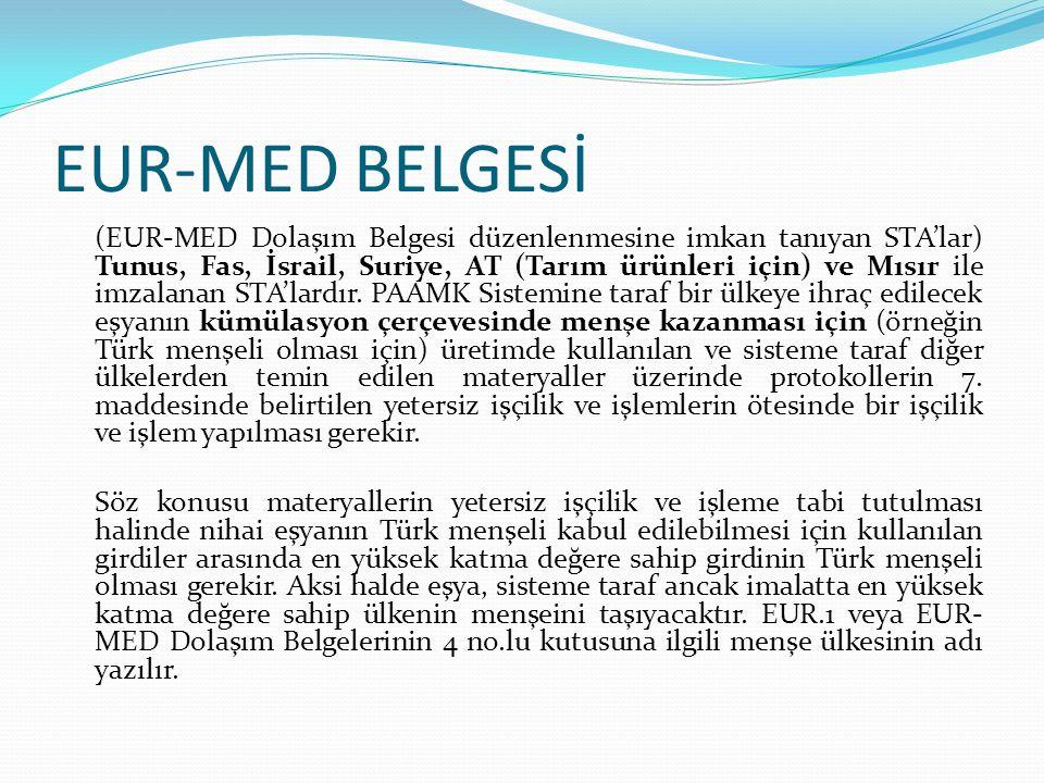EUR-MED BELGESİ (EUR-MED Dolaşım Belgesi düzenlenmesine imkan tanıyan STA'lar) Tunus, Fas, İsrail, Suriye, AT (Tarım ürünleri için) ve Mısır ile imzal