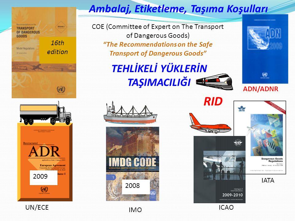 """Ambalaj, Etiketleme, Taşıma Koşulları TEHLİKELİ YÜKLERİN TAŞIMACILIĞI COE (Committee of Expert on The Transport of Dangerous Goods) """"The Recommendatio"""