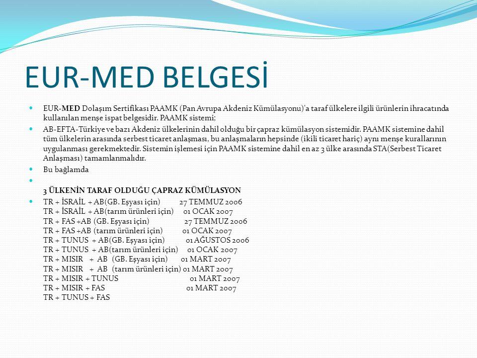EUR-MED BELGESİ EUR-MED Dolaşım Sertifikası PAAMK (Pan Avrupa Akdeniz Kümülasyonu)'a taraf ülkelere ilgili ürünlerin ihracatında kullanılan menşe ispa