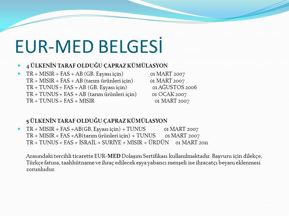 EUR-MED BELGESİ 4 ÜLKENİN TARAF OLDUĞU ÇAPRAZ KÜMÜLASYON TR + MISIR + FAS + AB (GB. Eşyası için) 01 MART 2007 TR + MISIR + FAS + AB (tarım ürünleri iç