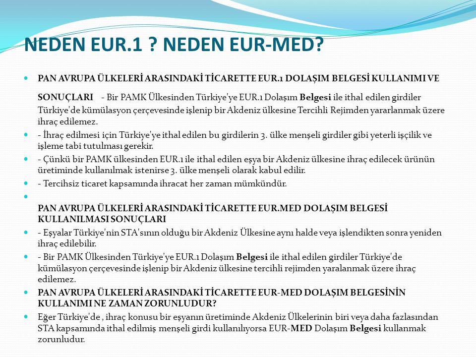 PAN AVRUPA ÜLKELERİ ARASINDAKİ TİCARETTE EUR.1 DOLAŞIM BELGESİ KULLANIMI VE SONUÇLARI - Bir PAMK Ülkesinden Türkiye'ye EUR.1 Dolaşım Belgesi ile ithal