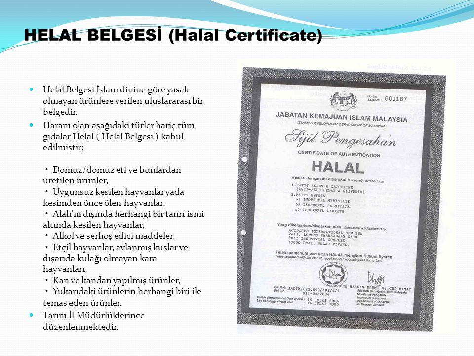 HELAL BELGESİ (Halal Certificate) Helal Belgesi İslam dinine göre yasak olmayan ürünlere verilen uluslararası bir belgedir. Haram olan aşağıdaki türle