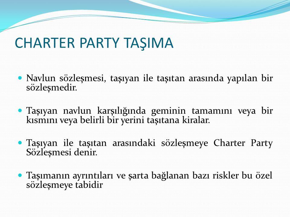 CHARTER PARTY TAŞIMA Charter Sözleşmesi gereğince kiralanmış olan geminin tamamı veya bir kısmı yüklenen eşya ile dolmamış olsa dahi taşıtan navlunun tamamını ödemek zorundadır.