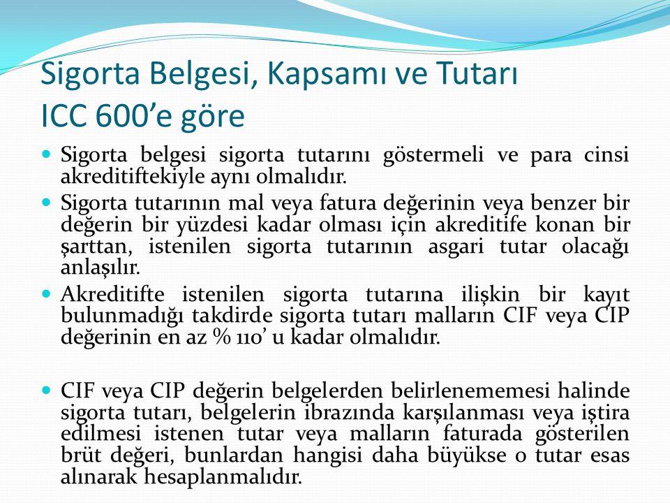 Sigorta Belgesi, Kapsamı ve Tutarı ICC 600'e göre Sigorta belgesi sigorta tutarını göstermeli ve para cinsi akreditiftekiyle aynı olmalıdır. Sigorta t