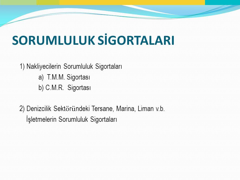 SORUMLULUK SİGORTALARI 1) Nakliyecilerin Sorumluluk Sigortaları a) T.M.M. Sigortası b) C.M.R. Sigortası 2) Denizcilik Sekt ö r ü ndeki Tersane, Marina