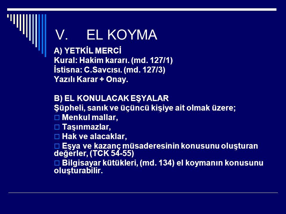 V.EL KOYMA A) YETKİL MERCİ Kural: Hakim kararı.(md.