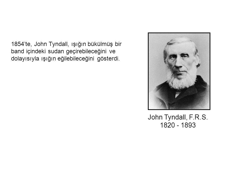 John Tyndall, F.R.S. 1820 - 1893 1854'te, John Tyndall, ışığın bükülmüş bir band içindeki sudan geçirebileceğini ve dolayısıyla ışığın eğilebileceğini