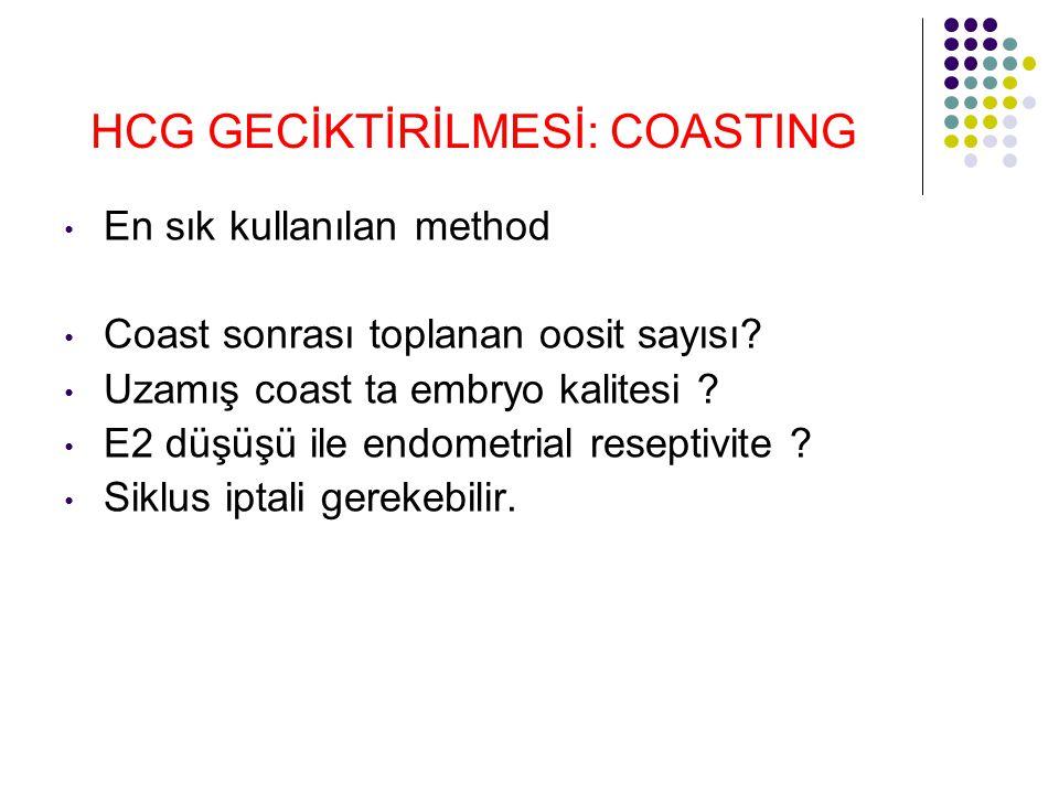 HCG GECİKTİRİLMESİ: COASTING En sık kullanılan method Coast sonrası toplanan oosit sayısı? Uzamış coast ta embryo kalitesi ? E2 düşüşü ile endometrial