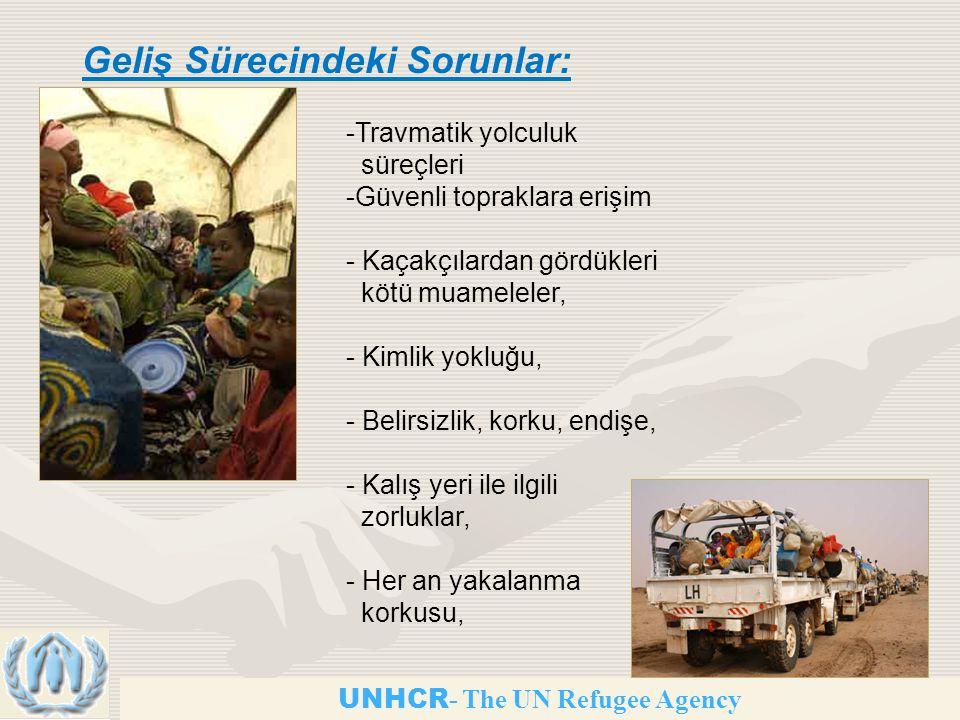 UNHCR - The UN Refugee Agency Geliş Sürecindeki Sorunlar: -Travmatik yolculuk süreçleri -Güvenli topraklara erişim - Kaçakçılardan gördükleri kötü muameleler, - Kimlik yokluğu, - Belirsizlik, korku, endişe, - Kalış yeri ile ilgili zorluklar, - Her an yakalanma korkusu,