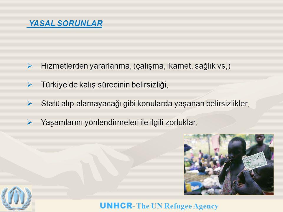 UNHCR - The UN Refugee Agency  Hizmetlerden yararlanma, (çalışma, ikamet, sağlık vs,)  Türkiye'de kalış sürecinin belirsizliği,  Statü alıp alamayacağı gibi konularda yaşanan belirsizlikler,  Yaşamlarını yönlendirmeleri ile ilgili zorluklar, YASAL SORUNLAR
