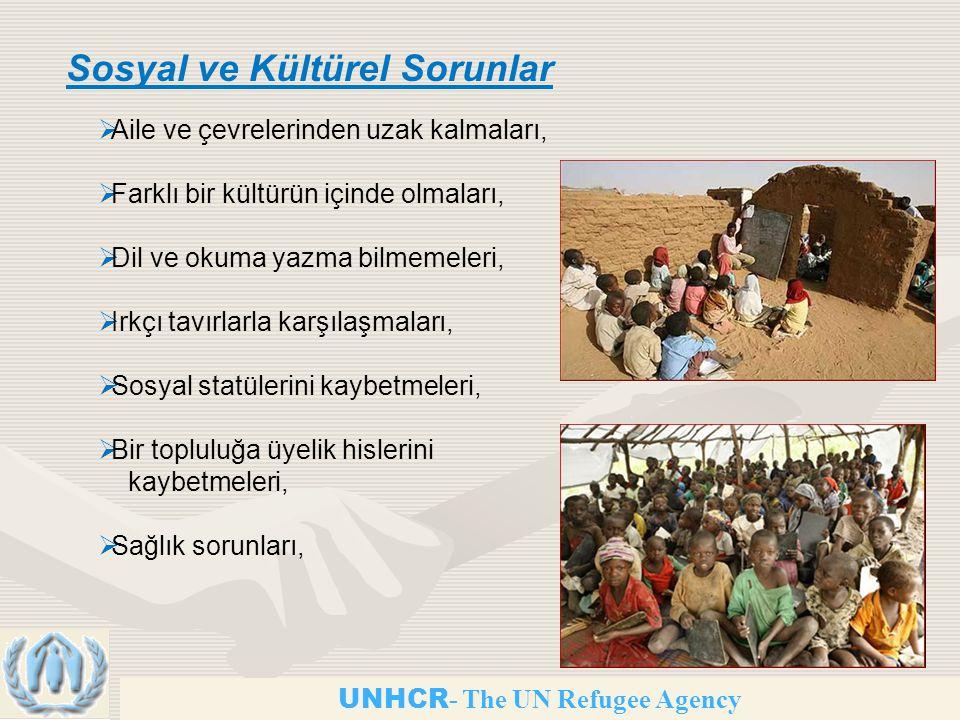 UNHCR - The UN Refugee Agency Sosyal ve Kültürel Sorunlar  Aile ve çevrelerinden uzak kalmaları,  Farklı bir kültürün içinde olmaları,  Dil ve okuma yazma bilmemeleri,  Irkçı tavırlarla karşılaşmaları,  Sosyal statülerini kaybetmeleri,  Bir topluluğa üyelik hislerini kaybetmeleri,  Sağlık sorunları,