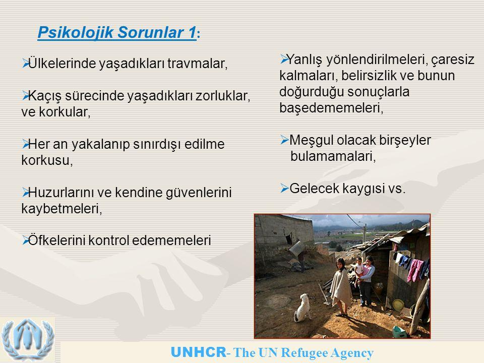 UNHCR - The UN Refugee Agency Psikolojik Sorunlar 1 :  Ülkelerinde yaşadıkları travmalar,  Kaçış sürecinde yaşadıkları zorluklar, ve korkular,  Her an yakalanıp sınırdışı edilme korkusu,  Huzurlarını ve kendine güvenlerini kaybetmeleri,  Öfkelerini kontrol edememeleri  Yanlış yönlendirilmeleri, çaresiz kalmaları, belirsizlik ve bunun doğurduğu sonuçlarla başedememeleri,  Meşgul olacak birşeyler bulamamalari,  Gelecek kaygısi vs.