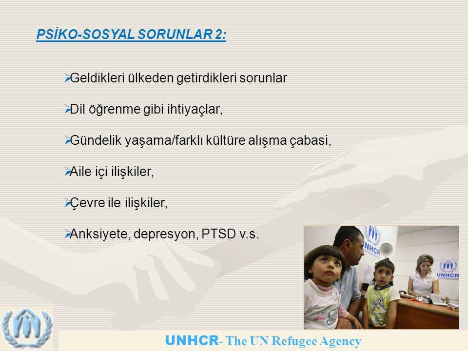 UNHCR - The UN Refugee Agency PSİKO-SOSYAL SORUNLAR 2:  Geldikleri ülkeden getirdikleri sorunlar  Dil öğrenme gibi ihtiyaçlar,  Gündelik yaşama/farklı kültüre alışma çabasi,  Aile içi ilişkiler,  Çevre ile ilişkiler,  Anksiyete, depresyon, PTSD v.s.