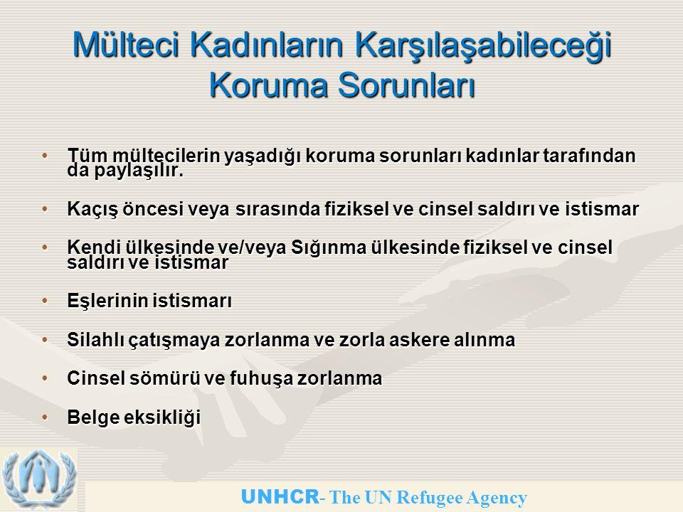 Mülteci Kadınların Karşılaşabileceği Koruma Sorunları Tüm mültecilerin yaşadığı koruma sorunları kadınlar tarafından da paylaşılır.Tüm mültecilerin yaşadığı koruma sorunları kadınlar tarafından da paylaşılır.