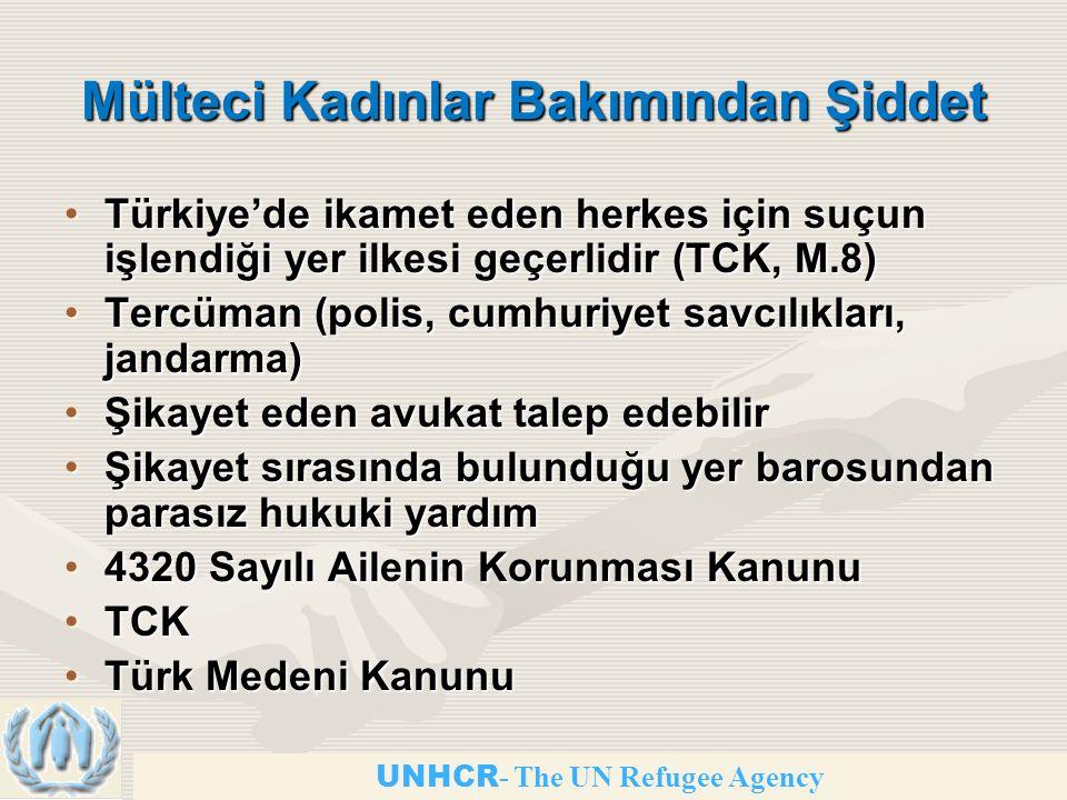 UNHCR - The UN Refugee Agency Mülteci Kadınlar Bakımından Şiddet Türkiye'de ikamet eden herkes için suçun işlendiği yer ilkesi geçerlidir (TCK, M.8)Türkiye'de ikamet eden herkes için suçun işlendiği yer ilkesi geçerlidir (TCK, M.8) Tercüman (polis, cumhuriyet savcılıkları, jandarma)Tercüman (polis, cumhuriyet savcılıkları, jandarma) Şikayet eden avukat talep edebilirŞikayet eden avukat talep edebilir Şikayet sırasında bulunduğu yer barosundan parasız hukuki yardımŞikayet sırasında bulunduğu yer barosundan parasız hukuki yardım 4320 Sayılı Ailenin Korunması Kanunu4320 Sayılı Ailenin Korunması Kanunu TCKTCK Türk Medeni KanunuTürk Medeni Kanunu