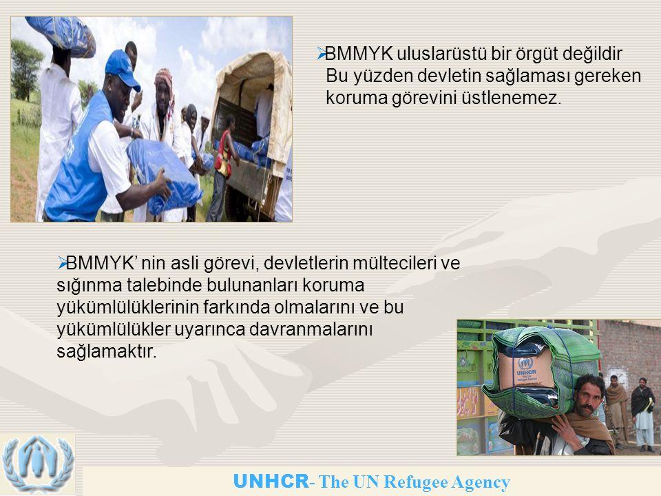 UNHCR - The UN Refugee Agency  BMMYK' nin asli görevi, devletlerin mültecileri ve sığınma talebinde bulunanları koruma yükümlülüklerinin farkında olmalarını ve bu yükümlülükler uyarınca davranmalarını sağlamaktır.
