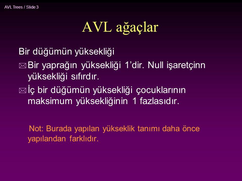 AVL Trees / Slide 3 AVL ağaçlar Bir düğümün yüksekliği * Bir yaprağın yüksekliği 1'dir. Null işaretçinn yüksekliği sıfırdır. * İç bir düğümün yüksekli