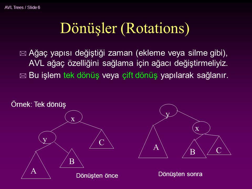 AVL Trees / Slide 6 Dönüşler (Rotations) * Ağaç yapısı değiştiği zaman (ekleme veya silme gibi), AVL ağaç özelliğini sağlama için ağacı değiştirmeliyi