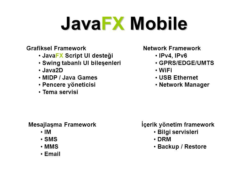 JavaFX Mobile Grafiksel Framework JavaFX Script UI desteği Swing tabanlı UI bileşenleri Java2D MIDP / Java Games Pencere yöneticisi Tema servisi Netwo