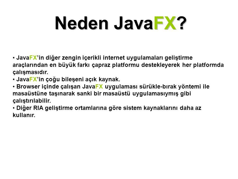 Neden JavaFX? JavaFX'in diğer zengin içerikli internet uygulamaları geliştirme araçlarından en büyük farkı çapraz platformu destekleyerek her platform