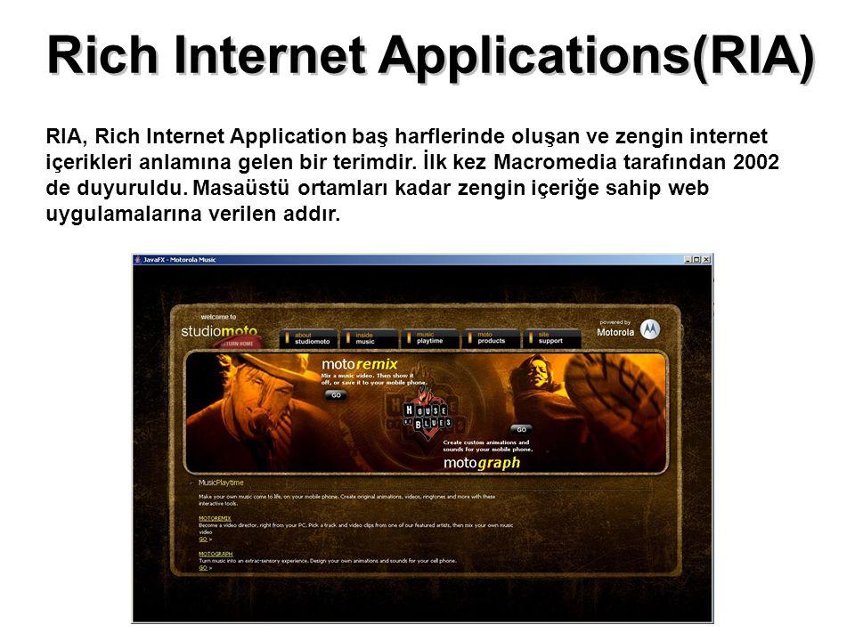 Rich Internet Applications(RIA) RIA, Rich Internet Application baş harflerinde oluşan ve zengin internet içerikleri anlamına gelen bir terimdir. İlk k