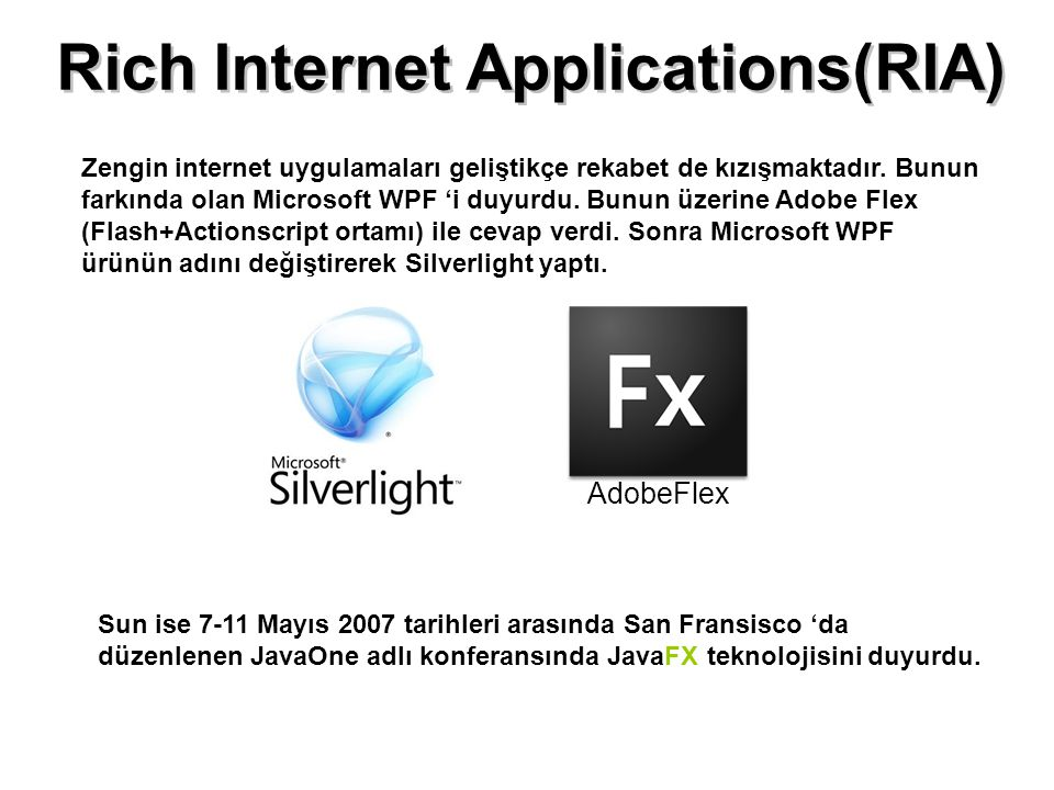 Rich Internet Applications(RIA) AdobeFlex Zengin internet uygulamaları geliştikçe rekabet de kızışmaktadır. Bunun farkında olan Microsoft WPF 'i duyur
