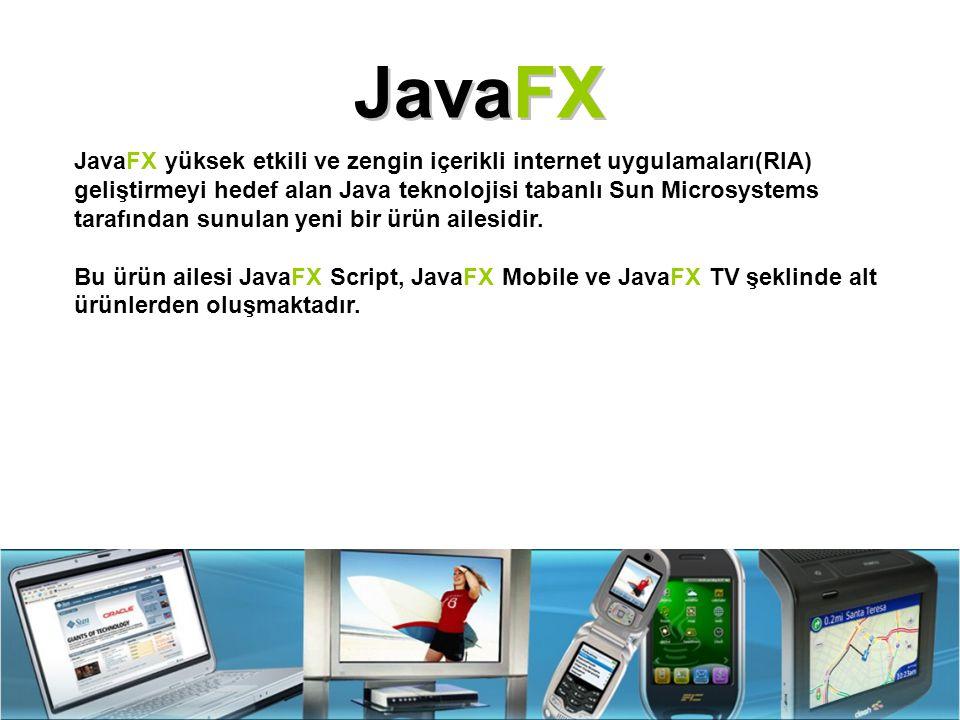 JavaFX JavaFX yüksek etkili ve zengin içerikli internet uygulamaları(RIA) geliştirmeyi hedef alan Java teknolojisi tabanlı Sun Microsystems tarafından