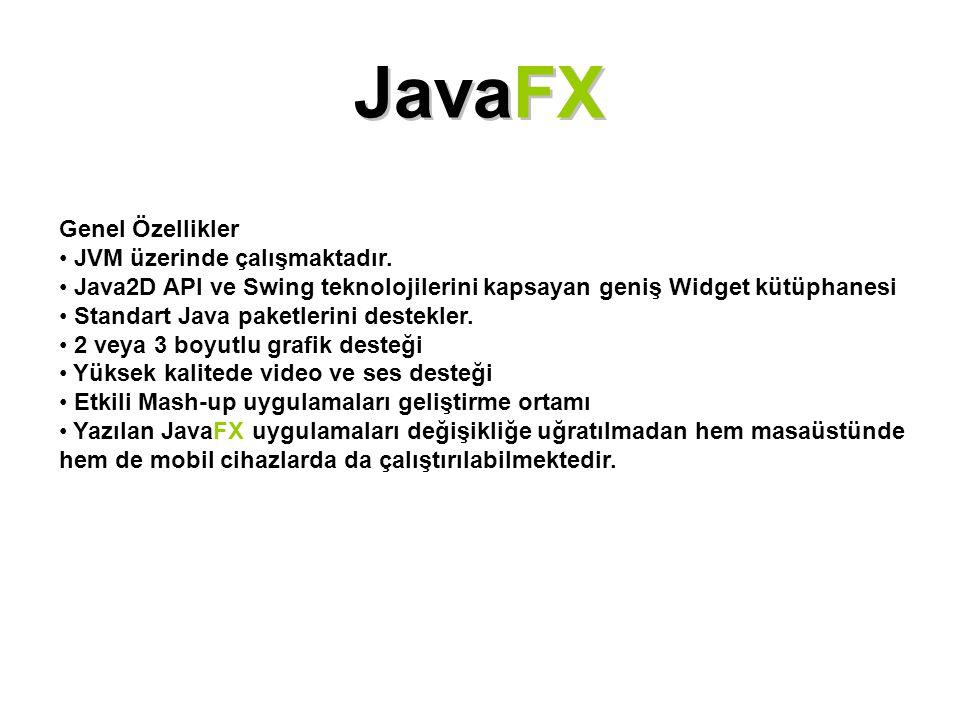 JavaFX Genel Özellikler JVM üzerinde çalışmaktadır. Java2D API ve Swing teknolojilerini kapsayan geniş Widget kütüphanesi Standart Java paketlerini de