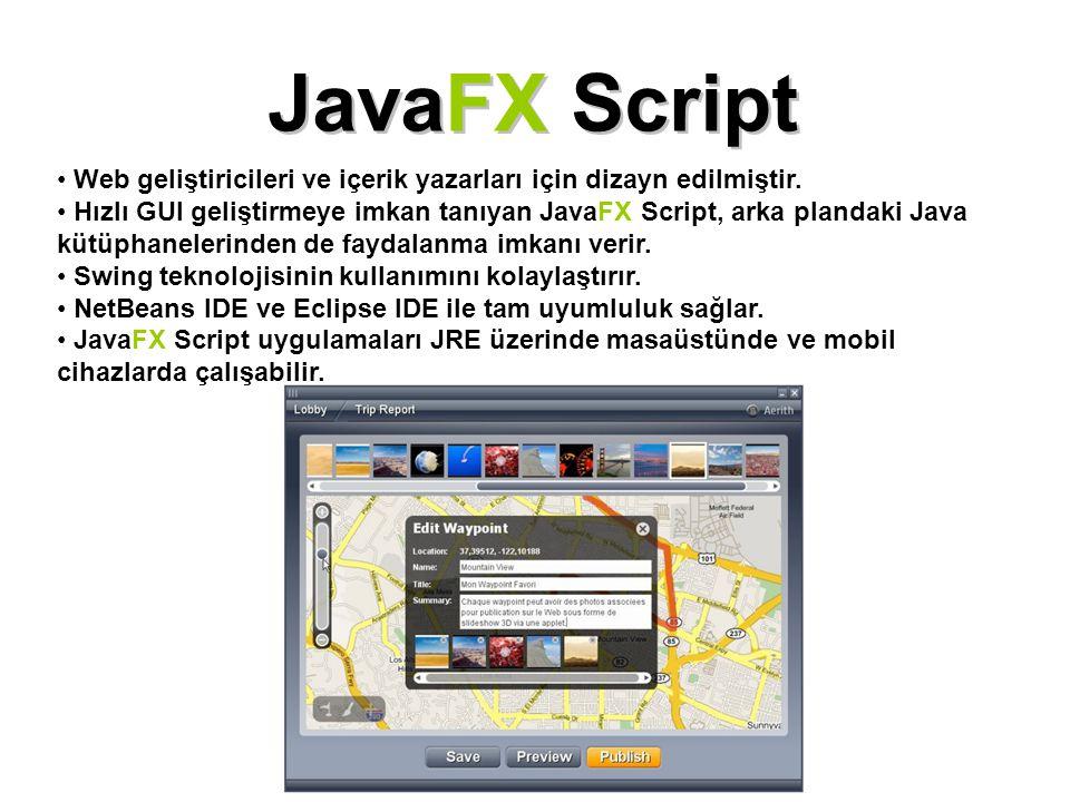 JavaFX Script Web geliştiricileri ve içerik yazarları için dizayn edilmiştir. Hızlı GUI geliştirmeye imkan tanıyan JavaFX Script, arka plandaki Java k