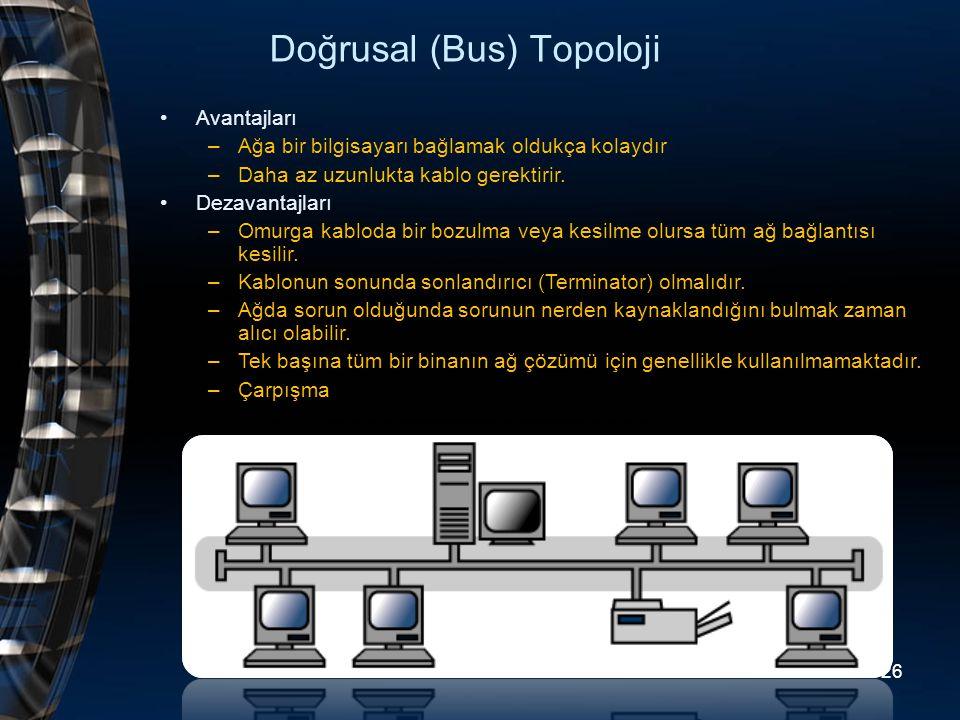 Doğrusal (Bus) Topoloji Avantajları –Ağa bir bilgisayarı bağlamak oldukça kolaydır –Daha az uzunlukta kablo gerektirir. Dezavantajları –Omurga kabloda
