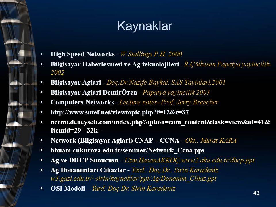 Kaynaklar High Speed Networks - W.Stallings P.H. 2000 Bilgisayar Haberlesmesi ve Ag teknolojileri - R.Çölkesen Papatya yayincilik- 2002 Bilgisayar Agl