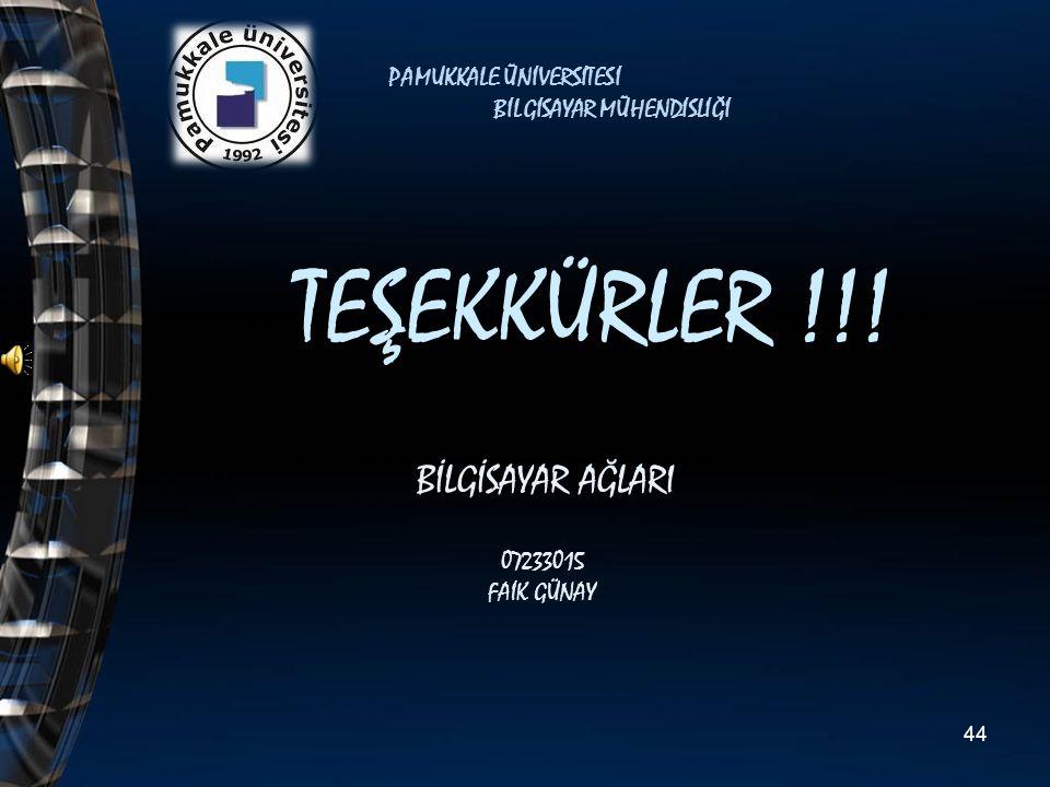 TEŞEKKÜRLER !!! BİLGİSAYAR AĞLARI 07233015 FAİK GÜNAY PAMUKKALE ÜNİVERSİTESİ BİLGİSAYAR MÜHENDİSLİĞİ 44