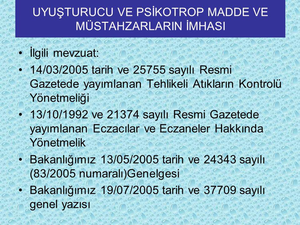 UYUŞTURUCU VE PSİKOTROP MADDE VE MÜSTAHZARLARIN İMHASI İlgili mevzuat: 14/03/2005 tarih ve 25755 sayılı Resmi Gazetede yayımlanan Tehlikeli Atıkların Kontrolü Yönetmeliği 13/10/1992 ve 21374 sayılı Resmi Gazetede yayımlanan Eczacılar ve Eczaneler Hakkında Yönetmelik Bakanlığımız 13/05/2005 tarih ve 24343 sayılı (83/2005 numaralı)Genelgesi Bakanlığımız 19/07/2005 tarih ve 37709 sayılı genel yazısı
