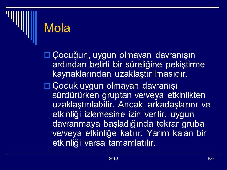 2010100 Mola  Çocuğun, uygun olmayan davranışın ardından belirli bir süreliğine pekiştirme kaynaklarından uzaklaştırılmasıdır.