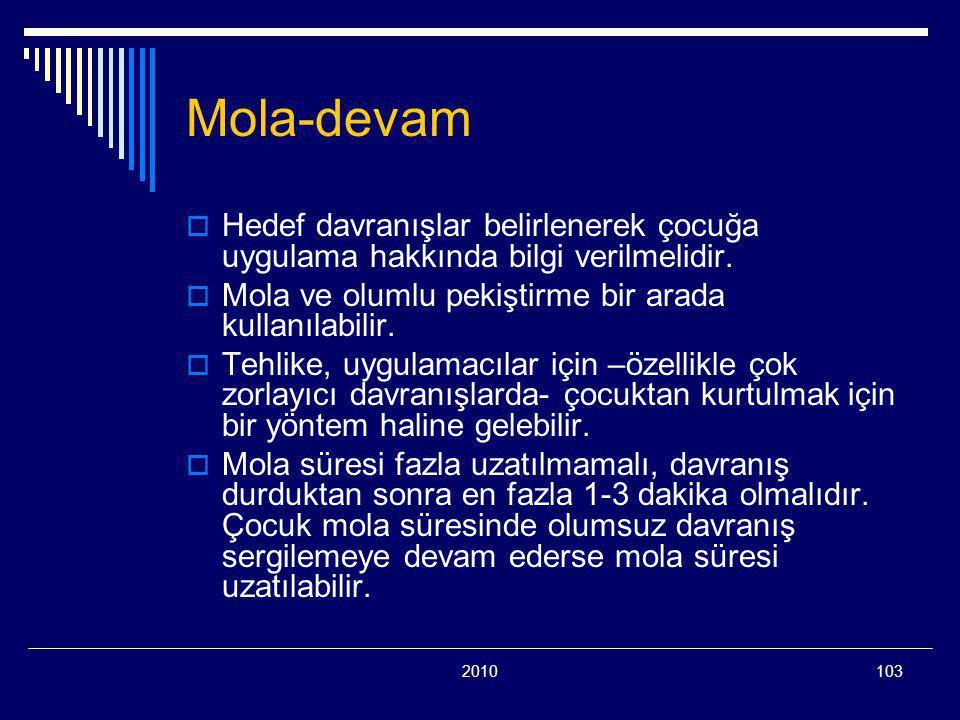 2010103 Mola-devam  Hedef davranışlar belirlenerek çocuğa uygulama hakkında bilgi verilmelidir.  Mola ve olumlu pekiştirme bir arada kullanılabilir.