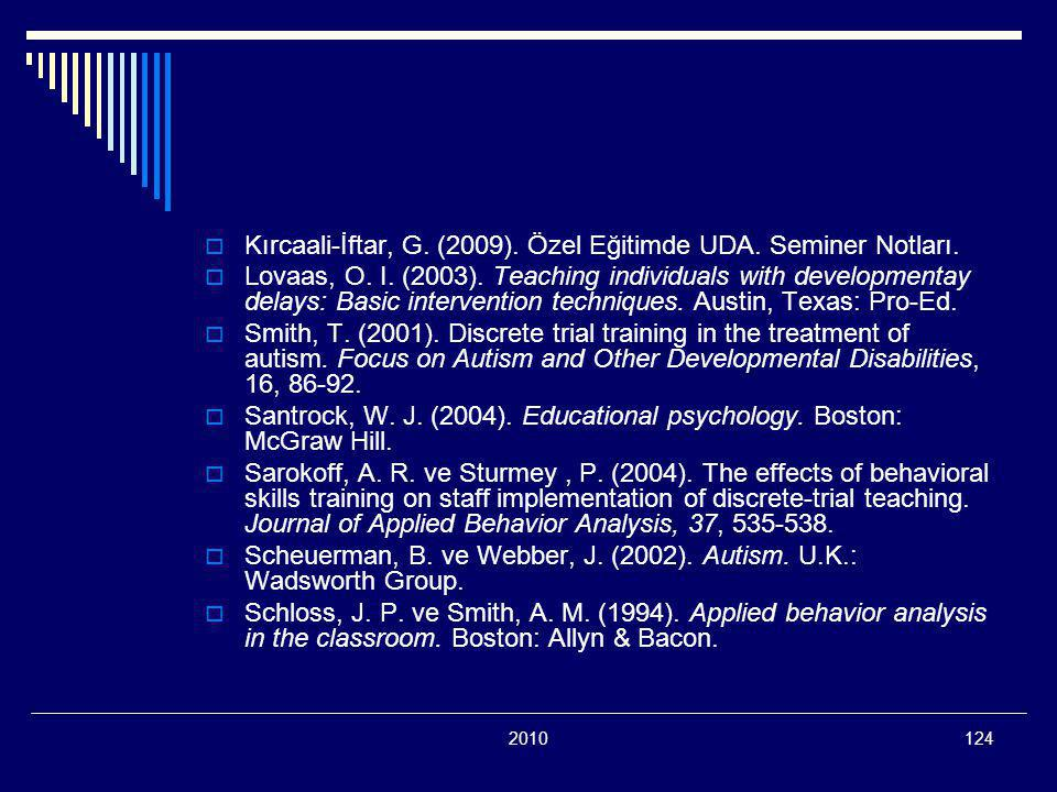 2010124  Kırcaali-İftar, G.(2009). Özel Eğitimde UDA.