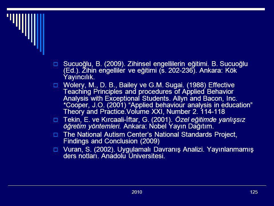 2010125  Sucuoğlu, B. (2009). Zihinsel engellilerin eğitimi. B. Sucuoğlu (Ed.). Zihin engelliler ve eğitimi (s. 202-236). Ankara: Kök Yayıncılık.  W