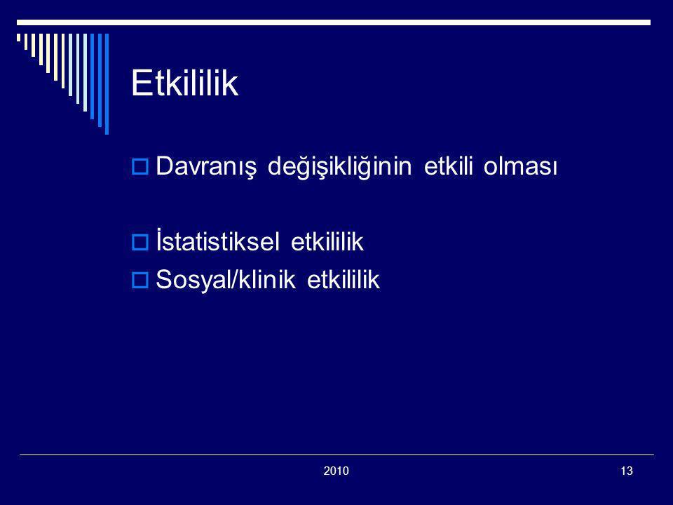 201013 Etkililik  Davranış değişikliğinin etkili olması  İstatistiksel etkililik  Sosyal/klinik etkililik