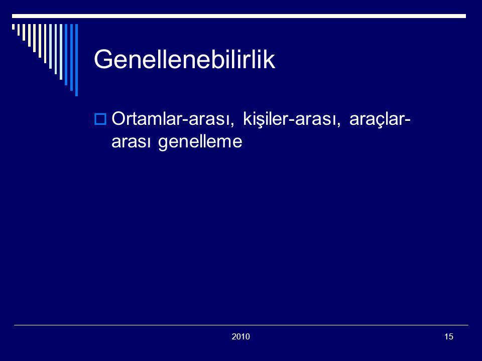201015 Genellenebilirlik  Ortamlar-arası, kişiler-arası, araçlar- arası genelleme