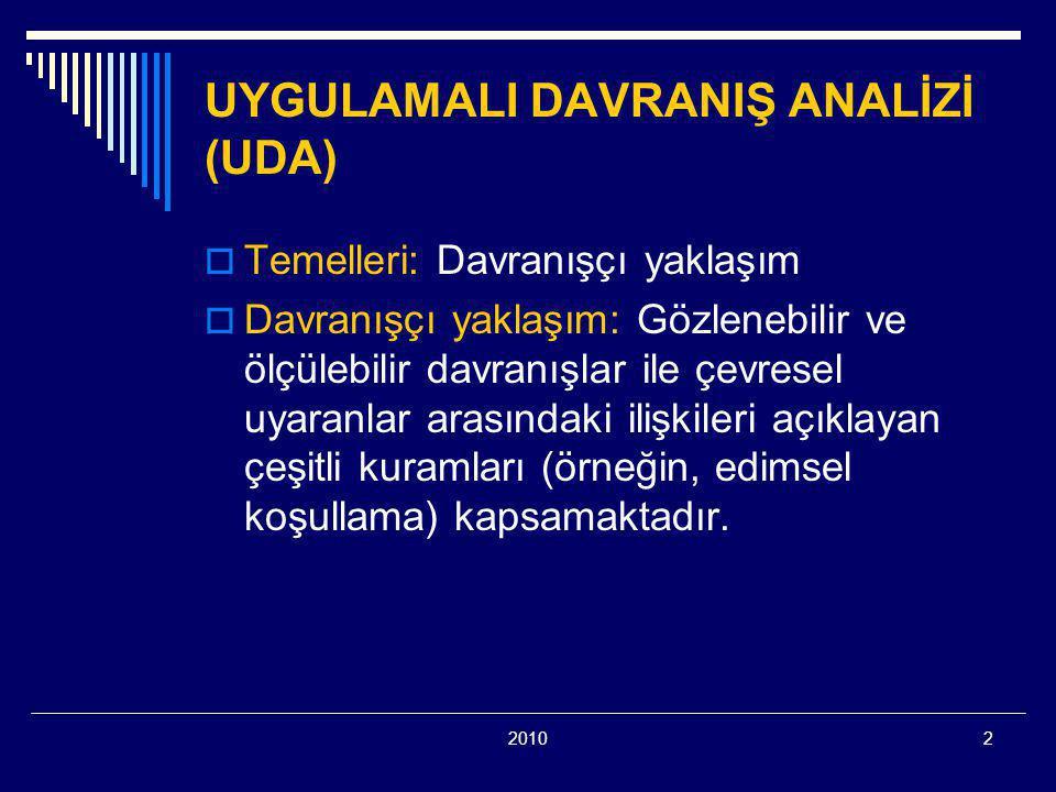 20102 UYGULAMALI DAVRANIŞ ANALİZİ (UDA)  Temelleri: Davranışçı yaklaşım  Davranışçı yaklaşım: Gözlenebilir ve ölçülebilir davranışlar ile çevresel uyaranlar arasındaki ilişkileri açıklayan çeşitli kuramları (örneğin, edimsel koşullama) kapsamaktadır.